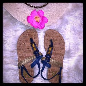NWOT blue & gold cork style flat sandals
